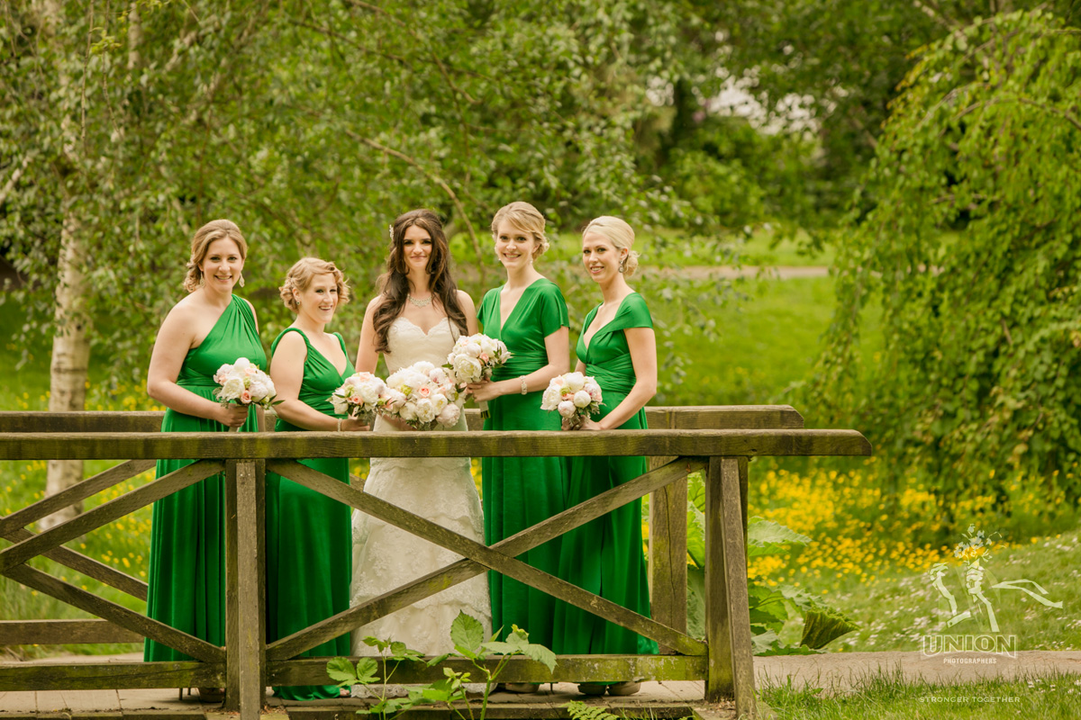 pretty bride and her bridesmaids
