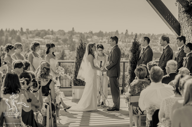 ceremony on the rooftop deck