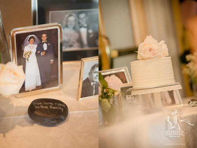 cake surrounded by family photos
