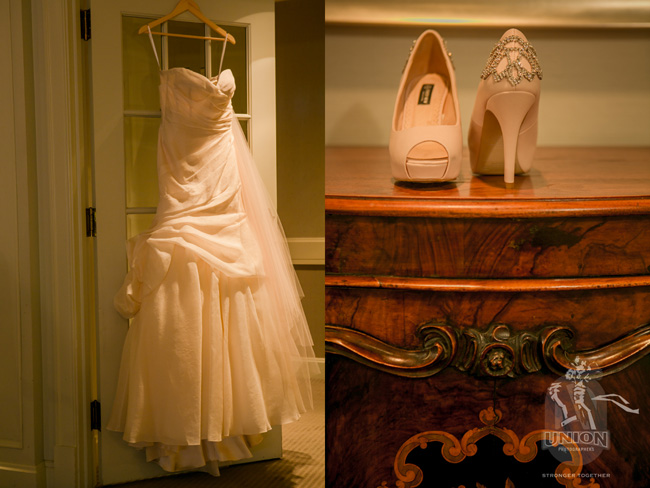 bride's blush wedding gown and shoes