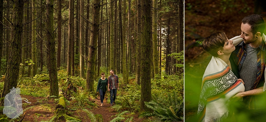 Stanley Park engagement photos in the forest