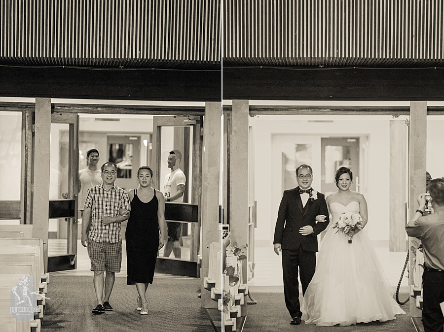 rehearsal vs real wedding photo