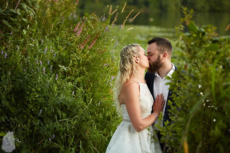 sunset bride and groom photos at Deer Lake